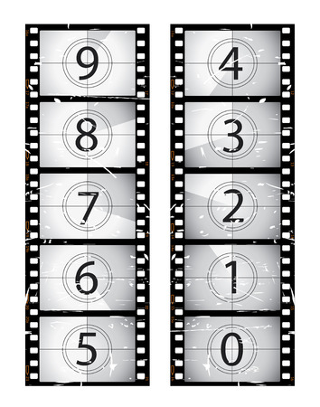 POSITIVE NEGATIVE: Old film strip countdown Illustration