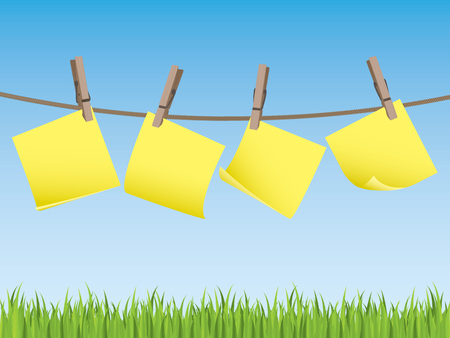 Clothes line with memo notes Stock Vector - 6726604