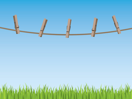 pegs: Clothes line background Illustration