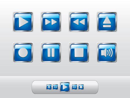 botones musica: Botones de m�sica azul brillante