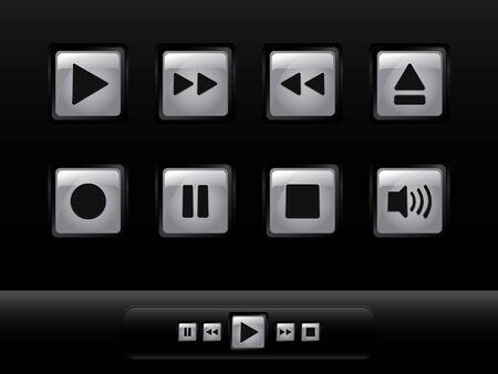 botones musica: Botones de plata de la m�sica