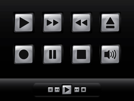 glowing skin: Silver music buttons