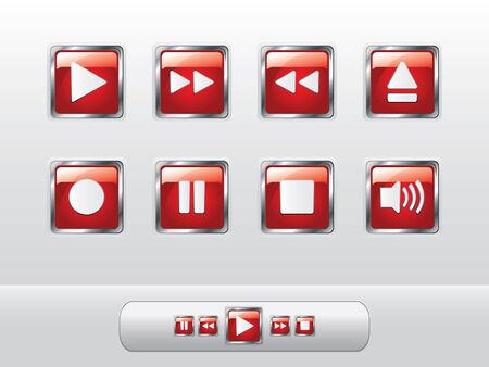 botones musica: Botones de m�sica rojo brillante
