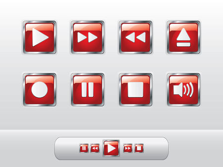 glowing skin: Glossy red music buttons