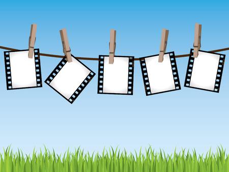 filmnegativ: Film strips h�ngende in einer Zeile