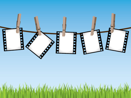 negativity: Film strips hanging on a line