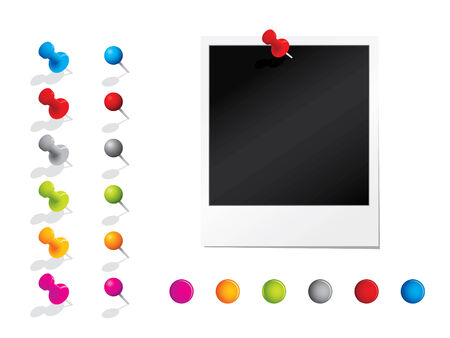 Photograph with pins Vector