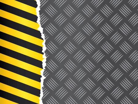 Metal floor pattern with warning strip. Vector