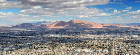 nevada: Las Vegas Aerial Panorama with city skyline, mountain and streets.