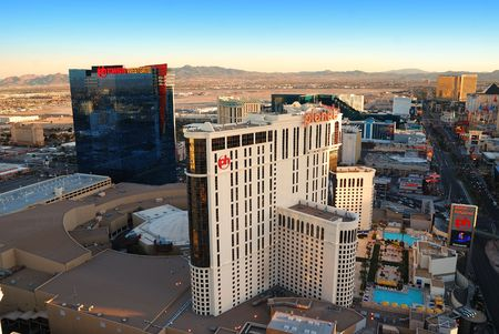 Aerial view of Las Vegas hotel Planet Hollywood. Viewed from top of Eiffel Tower Hotel.