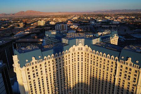Aerial view of Paris Hotel & Casino in Las Vegas. Viewed from top of Eiffel Tower Hotel.