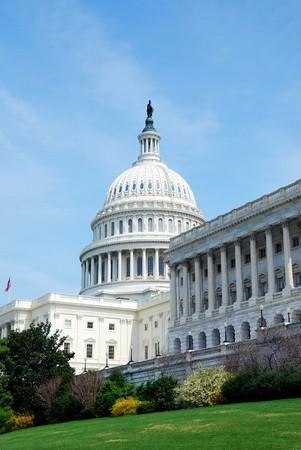 regierung: American Capitol Hill Building mit Baum, Rasen und blauer Himmel, Washington DC, USA  Lizenzfreie Bilder
