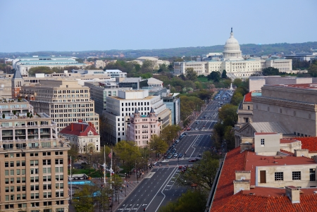 capitol building: Washington DC aerial view with capitol hill building and street