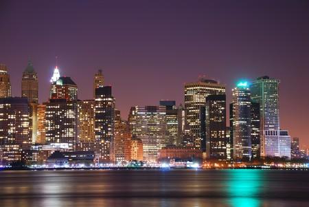 pano: New York City Manhattan Skyline night panorama over Hudson River with reflection. Stock Photo