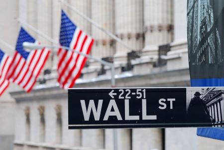 capitalismo: Wall Street carretera signo, ciudad de Nueva York