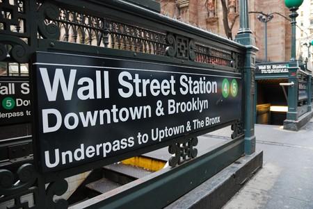 ニューヨーク市のウォール街の地下鉄駅 写真素材