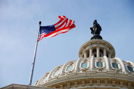 domes: US national flag flying over Capitol Hill Building in Washington DC Stock Photo