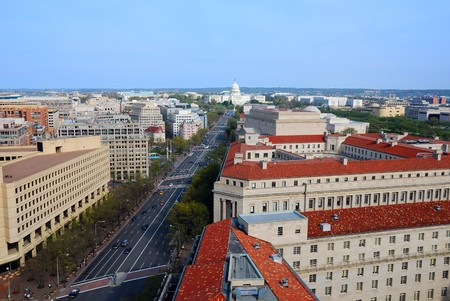 capitol building: Washington DC skyline with government buildings and capitol hill on Pennsylvania Avenue.