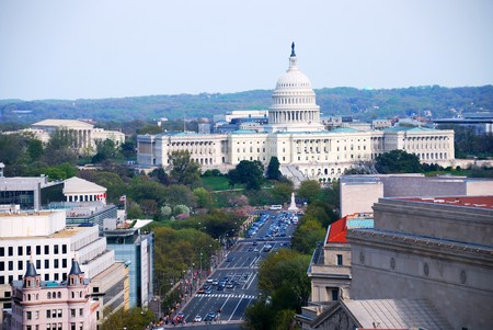 capitals: Washington DC aerial view with capitol hill building and street