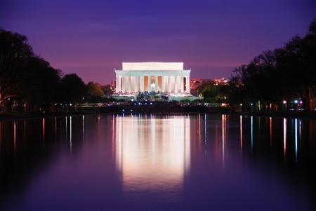 Lincoln Memorial at sunset with lake reflections, Washington DC Stock Photo