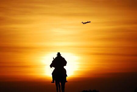 Statue of General Grant of US grant memorial at sunset, Washington DC. photo