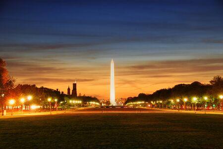george washington: National mall illuminated at night, Washington DC. Stock Photo