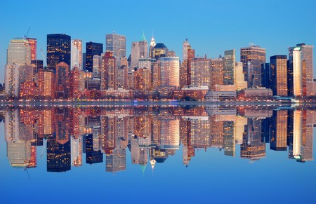 pano: New York City Manhattan Panorama at dusk with skyscrapers and reflection Stock Photo