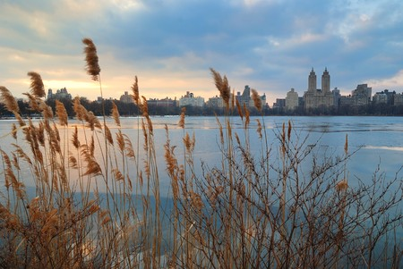 Central Park Sunset over icy lake, New York City photo