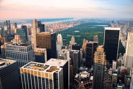 센트럴 파크, 뉴욕시의 스카이 라인 공중보기 스톡 콘텐츠