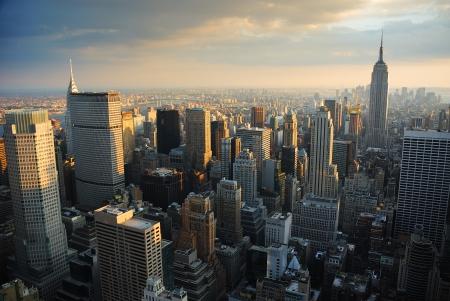 New York City Manhattan skyline aerial view at sunset. Stock Photo