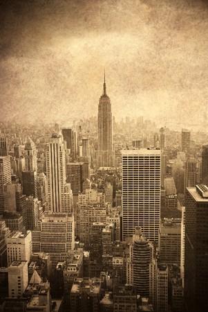 New York City skyline. Manhattan aerial view. old fashion style.