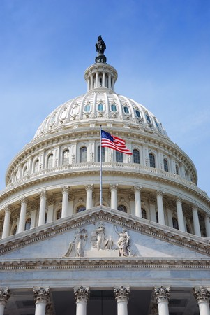 US national flag flying in front of US capitol Building in Washington DC Stock Photo - 7110888