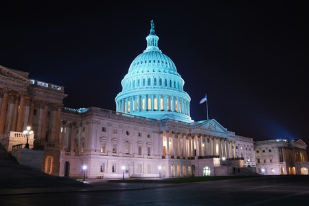 Capitol hill building at night illuminated with light, Washington DC.  Stock Photo - 7110834