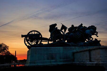 civil war: Civil War Memorial statue silhouette at sunset, Washington DC.