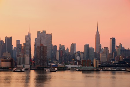 Urban City skyline. New York City Manhattan skyline with Empire State building and skyscrapers over Hudson River. Stock Photo - 7110842