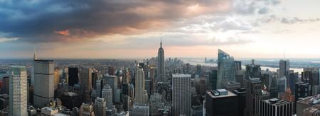 city panorama: New York City skyline panorama. Manhattan aerial view.