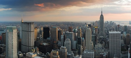 city panorama: New York City skyline sunset panorama. Manhattan aerial view.