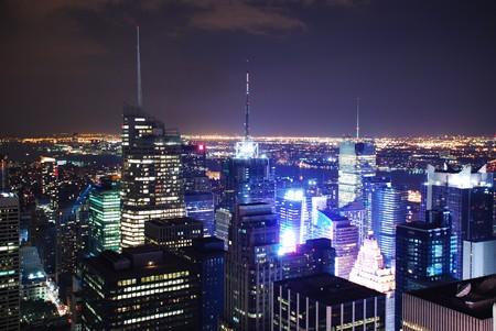 New York City Times Square Aerial night view panorama
