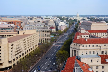 legislature: Washington DC skyline with government buildings and capitol hill on Pennsylvania Avenue.