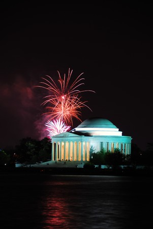 reflect: Thomas Jefferson Memorial illuminated with light and fireworks. Washington DC.