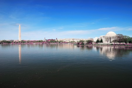 Washington DC panorama with Washington monument and Thomas Jefferson memorial.  Editorial