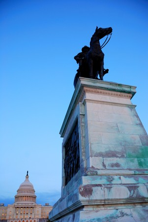 General grant statue in front of US capitol in the morning, Washington DC. photo