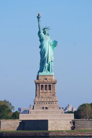 Statue of Liberty closeup as American landmark in New York City Manhattan over Hudson River photo