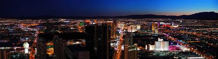 nevada: Las Vegas City skyline panorama night view with luxury hotel illuminated. Stock Photo