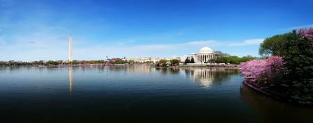 Washington DC skyline panorama with Washington monument and Thomas Jefferson memorial.