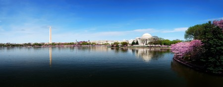 Washington DC skyline panorama with Washington monument and Thomas Jefferson memorial.
