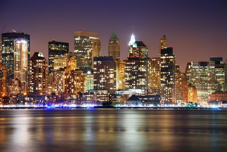 new york city times square: Urban City skyline night scene, New York City Manhattan skyline at night