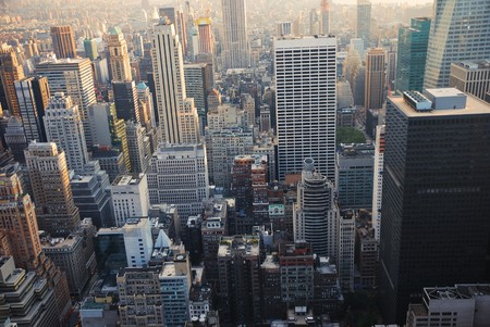 congested: New York City manhattan skyscrapers view from air. Stock Photo