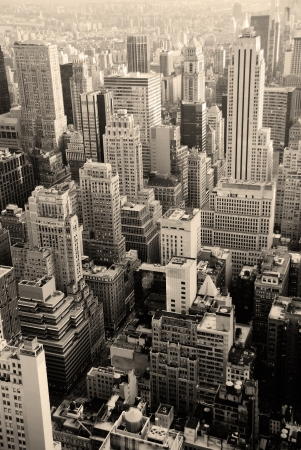 new york: Urban skyscrapers, New York City skyline. Manhattan aerial view. Stock Photo