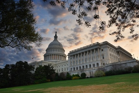 Capitol hill building in the morning with colorful cloud , Washington DC.  Stock Photo